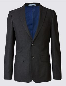 Charcoal Textured Slim Fit Suit by Marks & Spencer