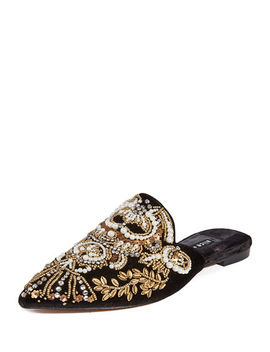 Urtin Embroidered Velvet Mules by Alice + Olivia