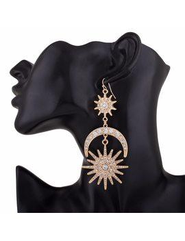 Kmvexo Big Luxury Sun Moon Stars Drop Earrings Rhinestone Punk Earrings For Women Jewelry Golden Boho Vintage Statement Earrings by Kmvexo