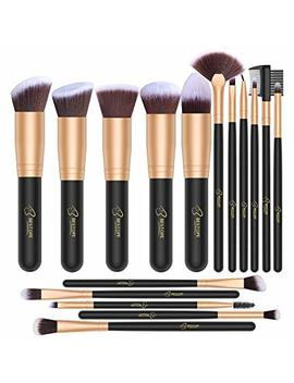 Bestope Makeup Brush Set 16 Piece Premium Cosmetic With Super Velvety Synthetic Hair Kabuki Foundation (Black Gold), 0.44 Pound by Bestope