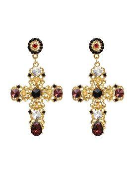 2017 New Arrival Vintage Black Crystal Cross Drop Earrings For Women Pink Baroque Bohemian Large Long Earrings Jewelry Brincos by Juran