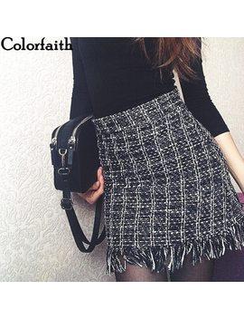 Colorfaith 2018 Women Woolen Mini Skirt Autumn Winter Vintage Straight Plaid Tassel Skater Skirt High Waist Femininas Sk5583 by Colorfaith