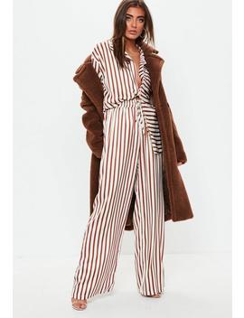 Brown Wide Leg Striped Satin Trousers by Missguided