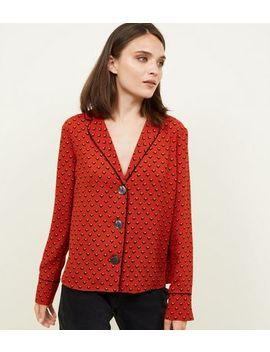 Rust Geometric Pyjama Style Shirt by New Look