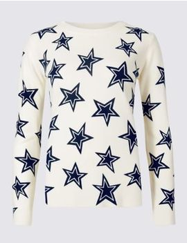 Star Print Round Neck Jumper by Marks & Spencer