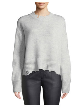 Distressed Crewneck Pullover Sweater by Helmut Lang