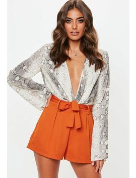 Terracotta Tie Waist Shorts by Missguided