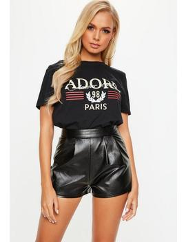 Black Faux Leather Shorts by Missguided