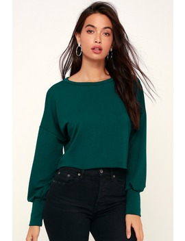 Julian Forest Green Balloon Sleeve Sweater Top by Lulus