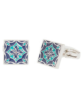 Simon Carter For John Lewis Archive Tile Cufflinks, Navy/Teal by Simon Carter