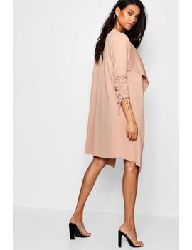 Ruched Sleeve Waterfall Duster Jacket by Boohoo