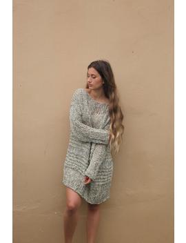 Oversized Chunky Knit Sweater Dress, Khaki Loose Weave Women's Knit Sweater, Hand Knit Slouchy Sweater, Loose Cotton Viscose Sweater Dress by Etsy