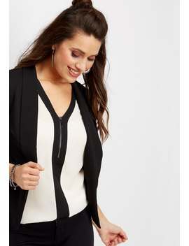 Black Contrast Zipper Front Tunic Blouse by Maurices