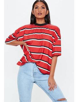 Red Stripe Drop Shoulder T Shirt by Missguided