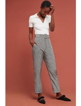 Houndstooth Belted Silk Trousers by Delfi
