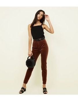 Dark Brown Corduroy Super Skinny Dahlia Jeans by New Look