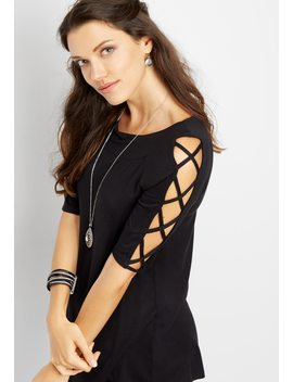 Solid Lattice Sleeve Tee by Maurices