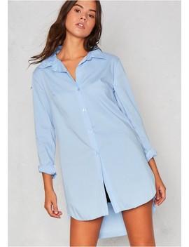 Roxane Blue Side Split Dip Hem Shirt by Missy Empire