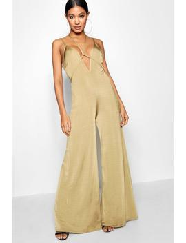 Wide Leg Plunge Jumpsuit by Boohoo