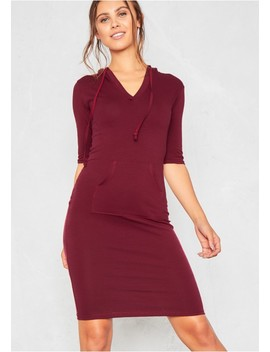 Nada Wine Jersey Pocket Hoodie Dress by Missy Empire