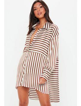 White Striped Oversized Satin Shirt Dress by Missguided