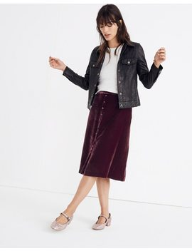 Velvet Button Front Midi Skirt by Madewell