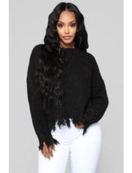 Rip Your Heart Out Distressed Sweater   Black by Fashion Nova