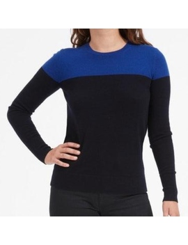 Everlane Navy & Blue Colorblock Cashmere Sweater by Everlane