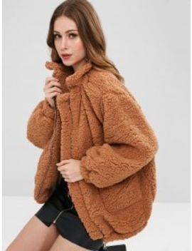 Slip Pockets Faux Fur Coat   Light Brown L by Zaful
