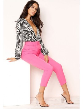 Izzy Hot Pink High Waist Belted Trousers by Missy Empire