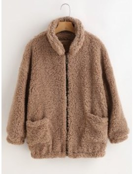 Fluffy Faux Fur Winter Coat   Camel Brown L by Zaful