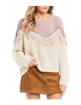Fringe Cable Knit Sweater by C&V Chelsea & Violet