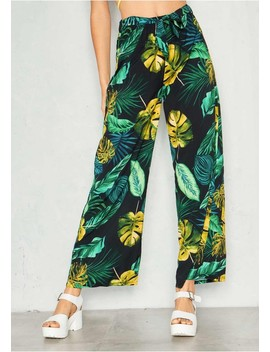 Linda Black Palm Print Flare Trousers by Missy Empire