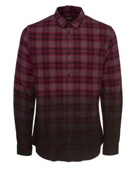 Dip Dye Check Longline Flannel Shirt by Only And Sons