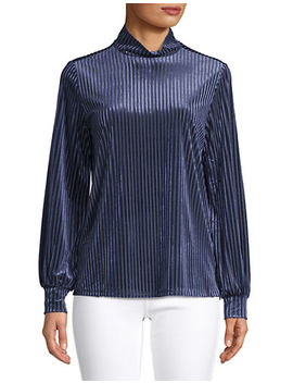 Striped Balloon Sleeve Velvet Top by Lord & Taylor