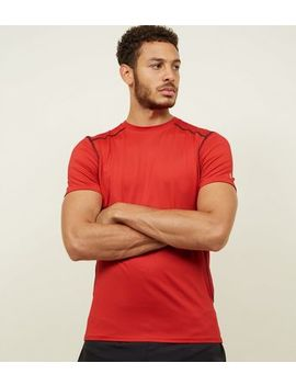 Red Stretch Short Sleeve Sports T Shirt by New Look