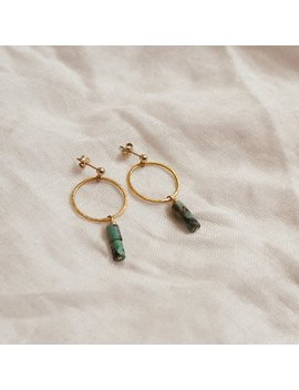 Marina Earrings | Natural Turquoise Gemstone Ring Earrings | Ethical Vegan Jewellery by Etsy