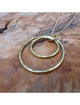 Double Hoop Solid Brass Necklace by Etsy
