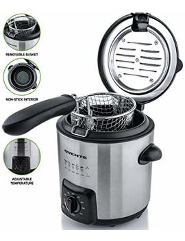 Ovente Fdm1091 Br Mini Deep Fryer With Removable Basket, Stainless Steel, Adjustable Temperature Control, Non Stick Interior, Personal Size Fdm1, Nickel Brushed by Ovente
