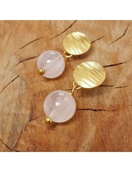 Textured Gold Disc Earrings With Rose Quartz Drop by Etsy