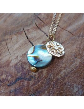 Beautiful Peacock Mother Of Pearl Disc Charm Necklace by Etsy