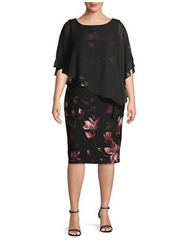 Floral Crepe Sheath Dress by Lori Michaels