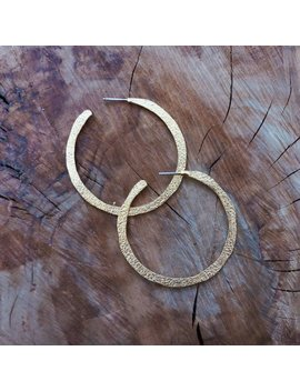 Large Hammered Gold Open Hoop Earrings by Etsy
