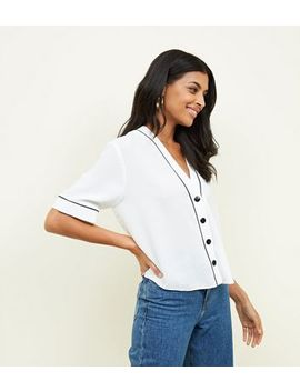 White Button Front Contrast Piped Boxy Shirt by New Look