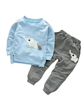 Bom Deals Cute Cat Elephant Print Toddler Baby Girls Clothes Set,Long Sleeve T Shirt +Pants Outfit by Bom Deals