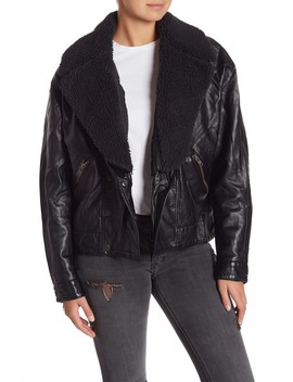 Halen Vegan Leather Removable Faux Fur Collared Jacket by Free People