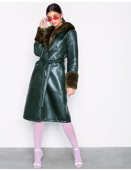 Patent Fur Coat by Nly Trend