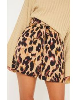 Leopard Print Printed Satin Shorts by Prettylittlething