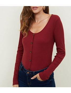 Burgundy Ribbed Button Front Detail Top by New Look