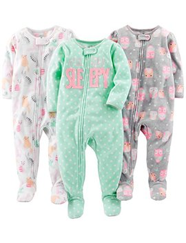 Simple Joys By Carter's Girls' 3 Pack Flame Resistant Fleece Footed Pajamas by Simple+Joys+By+Carter27s
